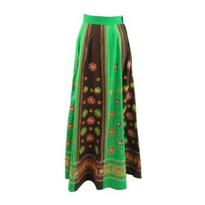 Green brown cotton vintage maxi skirt XS